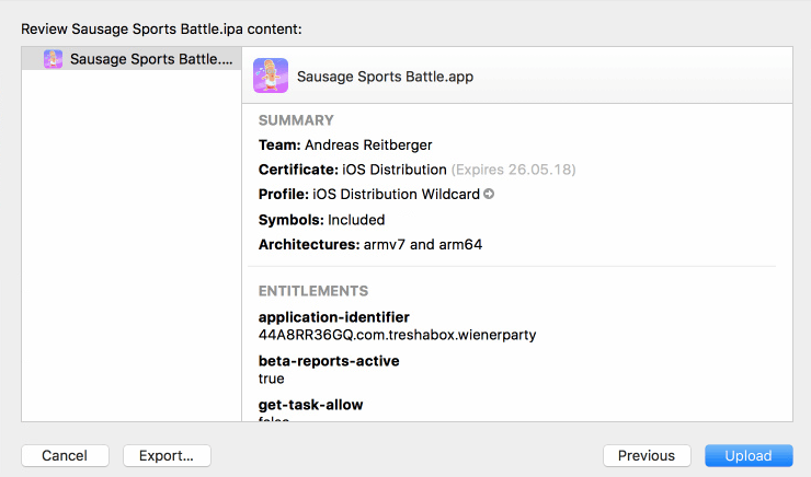 Upload or export your iOS game via XCode | Shatter-Box